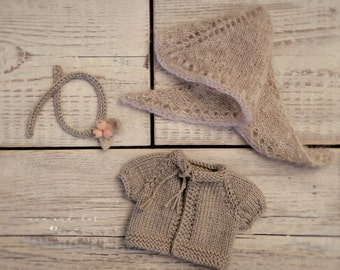 "Knit sweater, shawl and headband for 10/11/12"" doll"