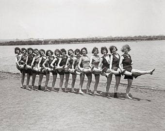 Bathing Beauties, 1923. Vintage Photo Digital Download. Black & White Photograph. Beach, Summer, Flappers, 1920s, 20s, Historical.