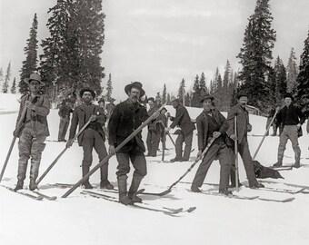Colorado Skiers, 1910. Vintage Photo Digital Download. Black & White Photograph. Ski, Skiing, Winter, Snow, Nature, Mountains, 1910s.
