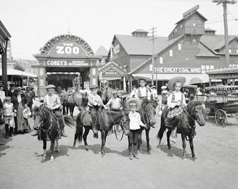Pony Riders at Coney Island, 1904. Vintage Photo Digital Download. Black & White Photograph. New York, Horse, Children, Kids, Historical.