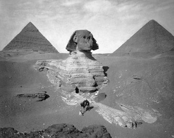 The Great Sphinx & Pyramids, 1878. Vintage Photo Digital Download. Black and White Photograph. Egypt, Giza, Travel, 1800s, Historical.