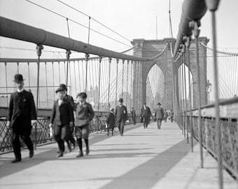 Brooklyn Bridge Pedestrians, 1909. Vintage Photo Digital Download. Black & White Photograph. New York City, Bridges, 1900s, Historical.