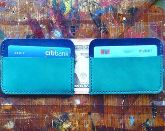 Wallet / Blue / Handmade Leather