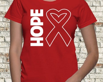 Hope Red Ribbon Shirts for Heart Disease Awareness, Stoke Awareness ,Vasculitis Awareness and More