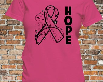 Breast Cancer Hope Ribbon Shirt (Screen Printed and Limited Edition)  Size XL
