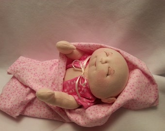 Soft Sculpture Baby Doll, Cloth Doll, Handmade Doll, Soft Doll