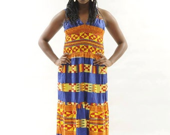Afican Clothes,Long Kente Halter Dress