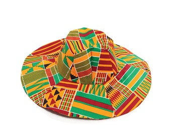 African Print African Clothes Kente wide Brim Sun Hat