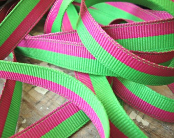 2 Yards - Hot Pink and Bright Spring Green Stripe Grosgrain Ribbon