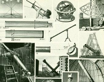 1948 Astronomy Telescope Instruments French Vintage Encyclopedia Larousse Original Framing