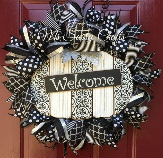 Fall Wreath Pumpkin Wreath Black And White Wreath Deco