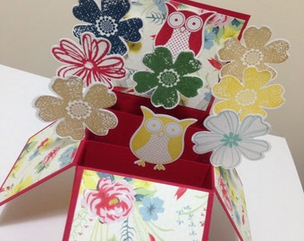Handmade Happy Birthday Card in a box, New home Card, 3d pop up flower card