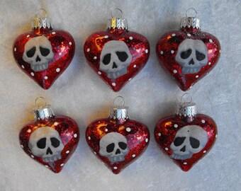Skull Heads Glass Heart Christmas Ornaments Set of 6