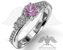Heather! Pink Engagement ring .925 sterling silver or 14k white and yellow gold, custommade, handmade ***Made to Order - 020