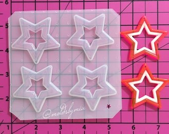 Cute 4 stars flexible plastic resin mold palette