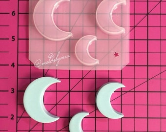 ON SALE ~Top Seller~ Crescent moon set of 3 flexible plastic resin mold