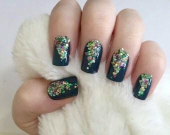 Glitter Christmas Fake Nails, Sequin Christmas Tree Nail Art, Christmas False Nails
