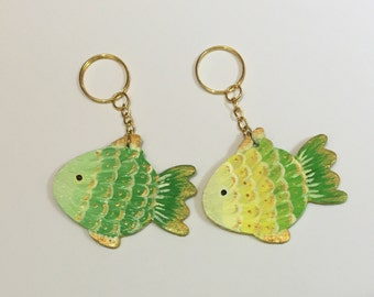 Fish keyring/keychain. Handpainted, wooden. Free UK delivery