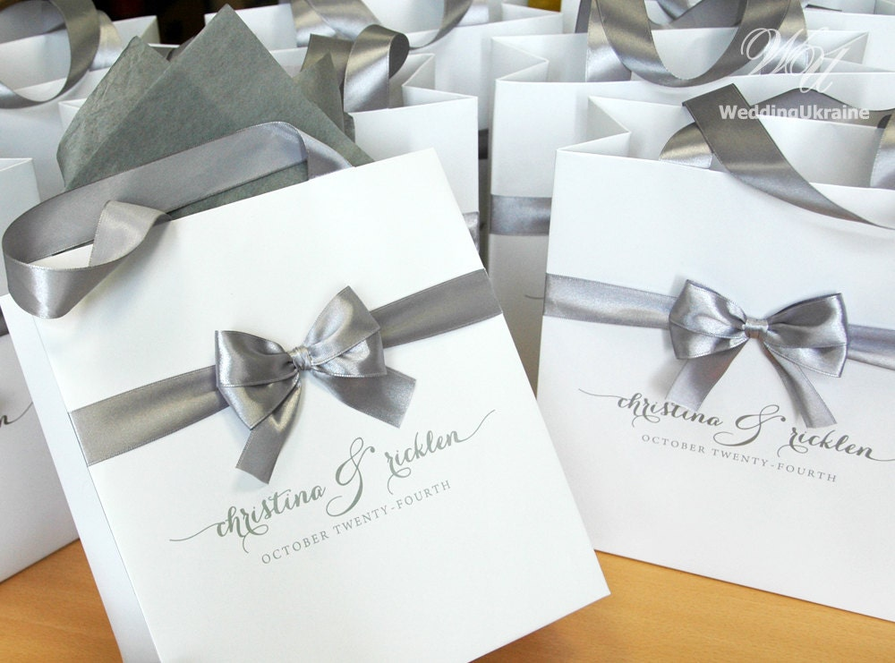 Elegant Custom Wedding Welcome Bags With Satin Ribbon Bow And