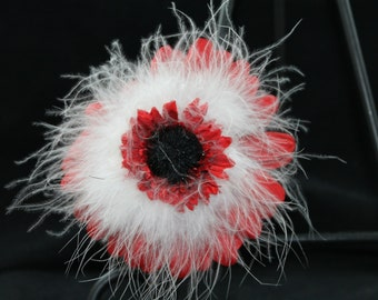 Beautiful red and white hair flower