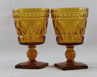 Park Lane Amber Glass Goblets set of 2