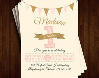 Stylish and Classy 1st Birthday Invitation
