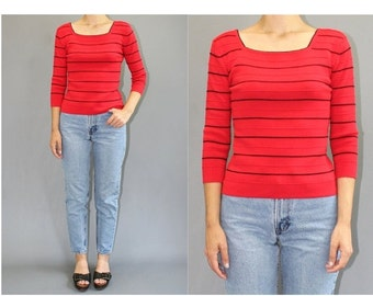 SALE Vintage 1990s Small Red with Black striped three quarters sleeve Fitted top - Vintage 90s Fitted Red Striped 3/4 sleeve top fitted top