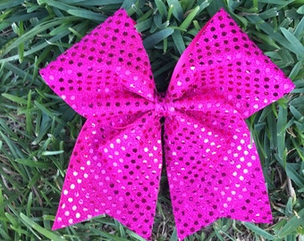 Fuchsia/Hot Pink Cheer Bow/ Sparkle Sequin Shimmer Cheer Bow/Glitter Fuschia/Hot Pink Cheer Bow/ Fuchsia/Hot Pink  sparkle cheer bow