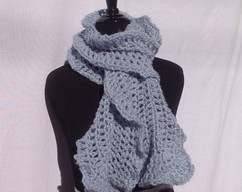 Chunky Ruffle Scarf in Icy Light Blue