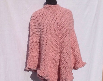 Thick and Cozy Poncho in Rose Pink