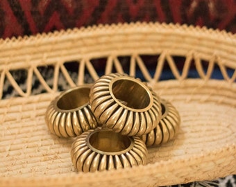 Vintage Gold Napkin Rings, Brass Plated Sunburst Napkin Rings, Gold Table Decor, Glam Tablescape