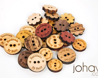 Custom Laser Engraved Buttons - Solid Wood Laser Engraved. 1.25 inches