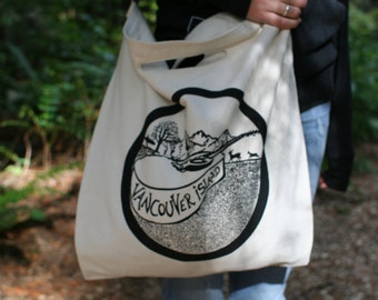 Vancouver Island woven cotton tote bag with handle and strap.  100% cotton