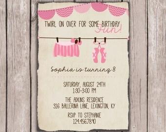 PRINTABLE- Ballerina Birthday Invite- Little Girl Birthday Invite- Birthday Invite- 5x7 JPG