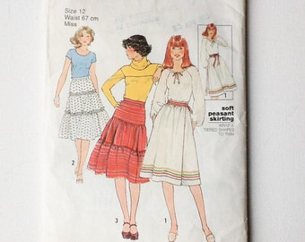 Vintage 1970s Peasant Skirt Pattern, Tiered or Wrap Skirt, Simplicity 8076, Cut / Complete, Misses Size 12, 1977, 00570