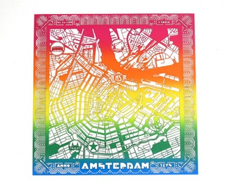 Map of Amsterdam - lasercut out of rainbow paper - amsterdam center highly detailed