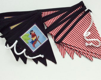 Boys party decor, pirate pennant banner,  pirate bunting,  boys room décor, pirate fabric banner,  bunting flags, pirate item, pirate party