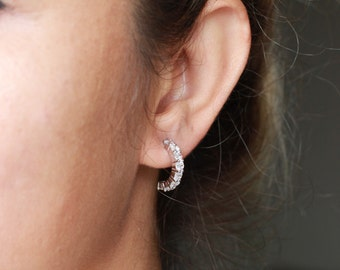 Silver Hoop Earrings / Sterling Silver / Clear Zirconia / Bride Earrings