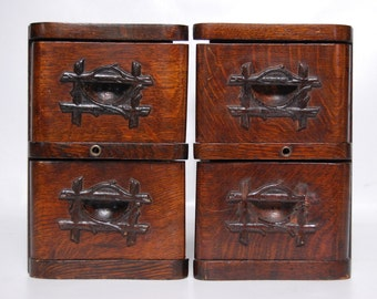 Antique Treadle Sewing Machine Drawers Set of Four Rustic Decorative DIY Cabinet