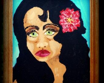 "LITTLE CARMEN (Framed) Acrylic Painting on 10 x 8"" Canvas Panel Primitive Ethnic Folk Art woman w/pink flower in her hair"