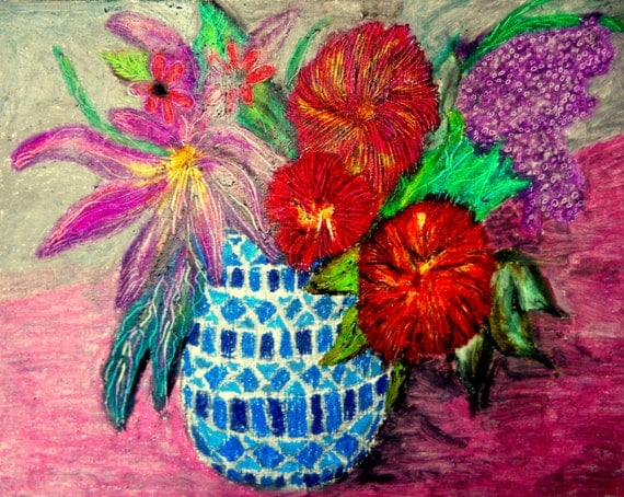 "SUMMERISH Oil Pastel Painting Still Life on 11X14"" acrylic paper Outsider Folk Art African American Artist Stacey Torres bright colors"
