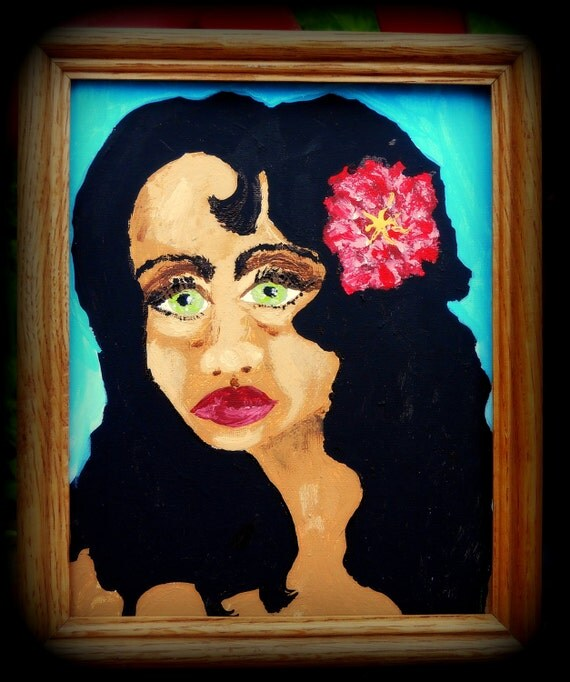 "LITTLE CARMEN (Framed) Acrylic Painting on 10 x 8"" Canvas Panel Primitive Ethnic Folk Art woman w/pink flower in her hair"