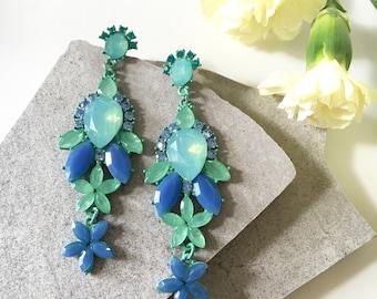 Green & Blue Earrings, Green Blue Dangle Earrings, Crystal Dangle Earrings, Statement Drop Earrings, Statement Earrings, Luxury Earrings