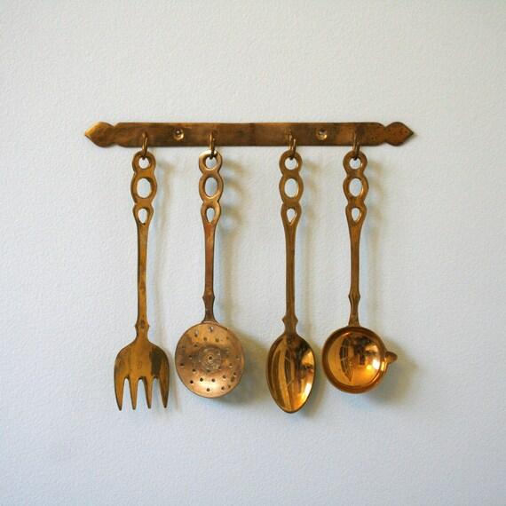 Brass Kitchen Wall Decor : Kitchen brass utensils made in india vintage wall decor