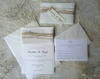 Burlap Wedding Invitations, Rustic Wedding Invites, Simple Invitations, Burlap Elegant Wedding Invitations, Custom Invitations