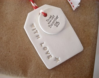 4 Christmas gift tags / clay tags / Christmas wrapping