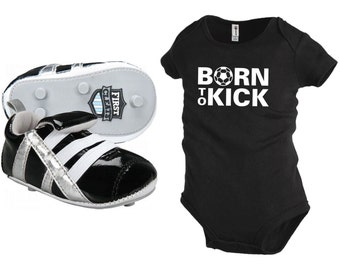First Cleat Newborn Baby Soccer Shoes, with free matching Born To Kick onesie