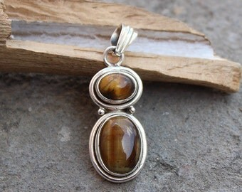 """TIGERS EYE Pendant 33 carat 925 solid Sterling Silver Handmade Jewelry 1.53"""" Courage Stone  P3QP17"""