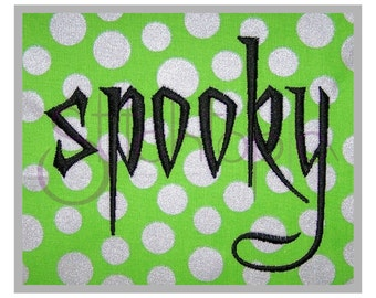 "Spooky Embroidery Font Set 1"", 2"", 3″ - Digital Machine Embroidery Font Alphabet - Scary Halloween Embroidery Font - Instant Download Files"