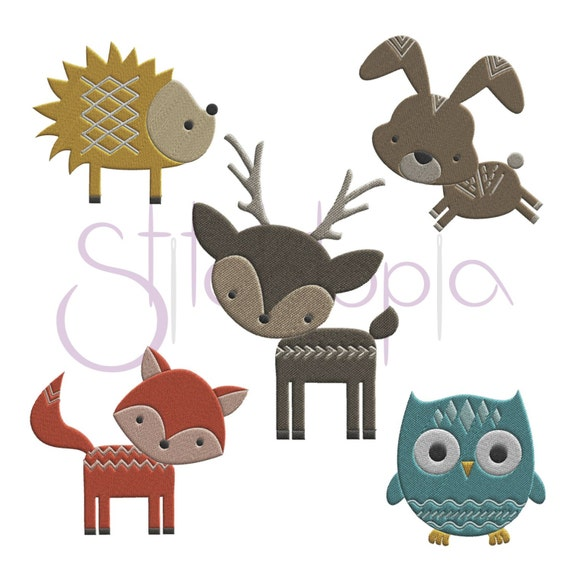 Forest animals set embroidery design designs sizes